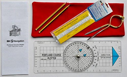 Preisvergleich Produktbild Portland Kurvenzeichner, Stechzirkel, Geschwindigkeit-Zeit-Strecke-Rechner, Navigations-Set, Rot