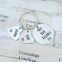 Hand Stamped Personalised Key Ring Nannan Nan Grandma Grandpa Grandad Daddy Mummy Mum Dad Cute Handmade Personalized Heart Unique