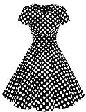 Dresstells Damen Vintage 50er Rockabilly Kurzarm Swing Kleider Partykleid Black White Dot S