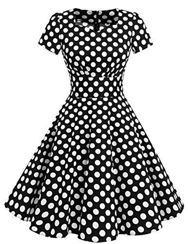 Dresstells Damen Vintage 50er Rockabilly Kurzarm Swing Kleider Partykleid Black White Dot L