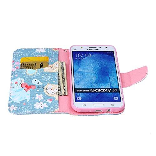 Etche Etui coque pour Samsung Galaxy J7,Housse en cuir PU pour Samsung Galaxy J7,portefeuille couvercle de la poche pour Samsung Galaxy J7,Housse en cuir de cuir flip couverture Wallet téléphone Case  chat mignon