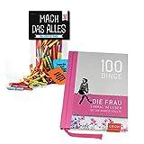 Monsterzeug 2er Geschenkset Frauen, Mach Das Alles Lose, Buch 100 Dinge die Frau getan haben muss, 50 Papierlose mit Challenges