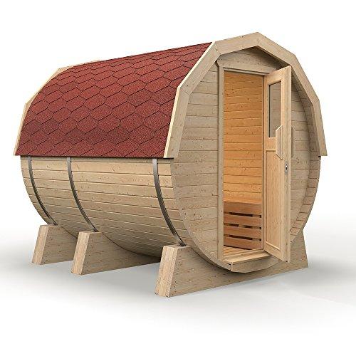 """ISIDOR Fasssauna """"M1 Premium"""" aus Espenholz (rote Dachschindeln)"""