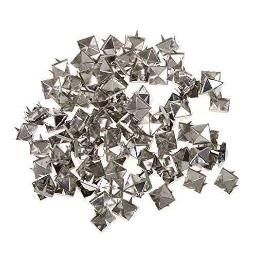 Trimming Shop Spike quadratische Ohrstecker mit Nieten in Silber/Nickel für Leder Kleidung Taschen Jeans Craft-Punk Pyramid Nieten für Verzierung, Silber/Nickel, 12 mm -