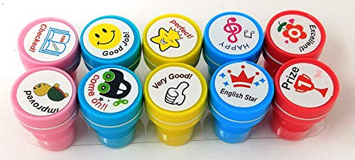 MSGH Stamps for Kids | Set of 10 Stamp - Also can be Used as Pencil Tops - Prefect Gift for Teachers Parents and Students (Motivation)