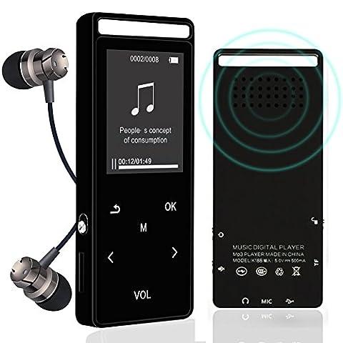 Bluetooth, lecteur MP3, 8Go Lossless son entrée Hi-Fi écran tactile Haut-parleur intégré Bluetooth 4.0lecteurs de musique avec radio FM et fonction d'enregistrement de la voix, prend en charge jusqu'à 64Go carte SD (Noir)