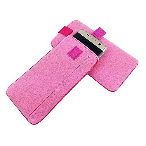 5,0'' Filztasche Tasche Hülle aus Filz für Sony X Compact X Performance XA E5 M5 LG K4 2017 K8 2017 Lenovo Moto G4 Play K6 P2 C2 Samsung J1 (2016) J3 (2016) A3 (2017) Huawei nova HTC A9 Alcatel X1 Pop Pink