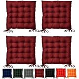 Set 4 - Beautissu Lea - comodísimos cojines para sillas - vivienda o terraza - 40 x 40 x 5 cm - Rojo oscuro