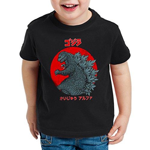 style3 Gojira T-shirt per bambini e ragazzi godzilla giappone nippon kaiju kanji tokio, Colore:Nero;Dimensione:140