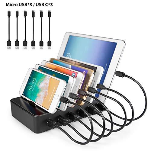 YOJA Ladestation Mehrere Geräte 6 Port USB Multi Ladestation Handy Tablet USB Ladegerät kompatibel mit Apple iPhone iPad Samsung Geräte (3 Micro-USB-Kabel, 3 USB C-Kabel) Schwarz