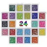 Almohadillas de tinta tampón de tinta, kaihong Multi Color arco iris Oficios dedo para niños DIY...