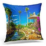 NDJHEH Fundas para Almohada Beautiful View to Tropical Island Resort Garden with Palm Trees Flowers and River on Fuerteventura Canary Decorative Pillow Case Home Decor Square 18x18 Inches Pillowcase