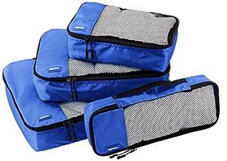 AmazonBasics Lot de 4 sacoches de rangement pour bagage Tailles S/M/L/Slim, Bleu (B014VBHNDU) | Amazon Products
