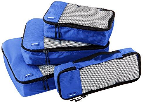 AmazonBasics Kleidertaschen-Set, 4-teilig, je 1 kleine, mittelgroße, große und schmale Packtasche, Blau