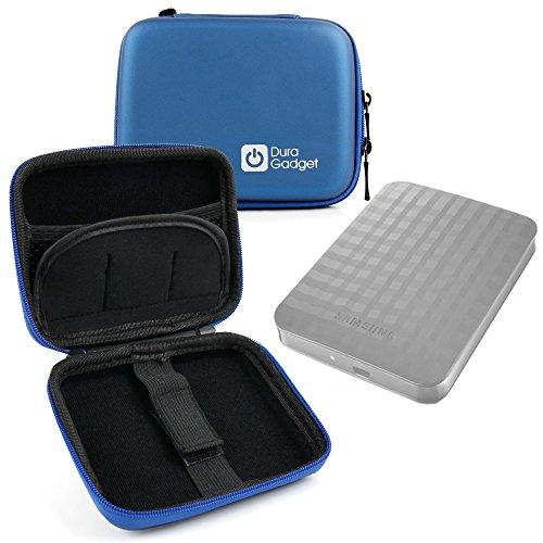 DURAGADGET Excelente Funda Rígida Azul para Disco Duro Externo Samsung M3 Portable 1TB STSHX-M101TCB / 2TB STSHX-M201TCB / 4TB STSHX-M401TCB / 500GB STSHX-M500TCB - con Mini Mosquetón - Alta Calidad