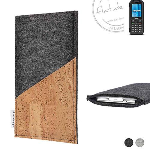 flat.design Handy Hülle Evora für Energizer H240S handgefertigte Handytasche Kork Filz Tasche Case fair dunkelgrau