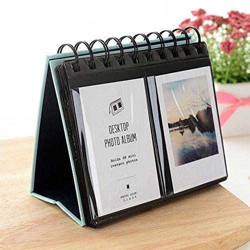 Jun Sofortbildkamera Fotoalbum Schreibtisch Ständer Kalender für Fujifilm Instax Polaroid Foto 7,6cm 68teilig blau