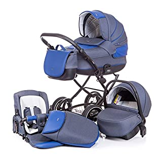 Anex Baby Classic 3 in 1 Kombi-Kinderwagen (jeans/blue leather)