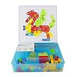 Assembly Mosaic Puzzles Juguetes de construcción Desaparecer Imaginación Bloques de ladrillos de construcción Juegos de construcción de niñosde bricolaje con tuercas de tornillo Herramientas Regalos de cumpleaños para niños de 3 Años+(180PCS)