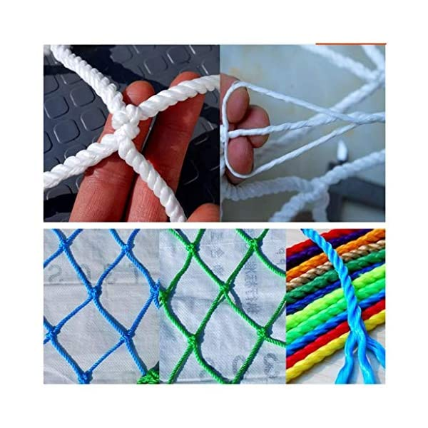 Banister Safety Net Nylon Rope Dense Mesh Stairs Anti Fall Net Outdoor Balcony Protection Net Children Safety Rope Net Kindergarten Decorative Net Fence Mesh Woven Mesh Hammock Swing 2x3m 3x5m 5x8m Mu CF-Safety Safety nets are suitable for various occasions, for use in our indoor balcony stairs to keep the baby's pets or toys safety. As stadiums, balconies, stairs, trailers, climbing facility, construction fence, etc., to prevent objects from falling. ▲ Safety net wire diameter 6MM, mesh spacing 10CM. Color: white rope net. Our protective mesh can be customized according to your needs. ▲Nylon woven mesh, the mesh surface has a large pulling force, and the double needle is a hand-woven mesh, which makes the net have strong impact resistance. 3