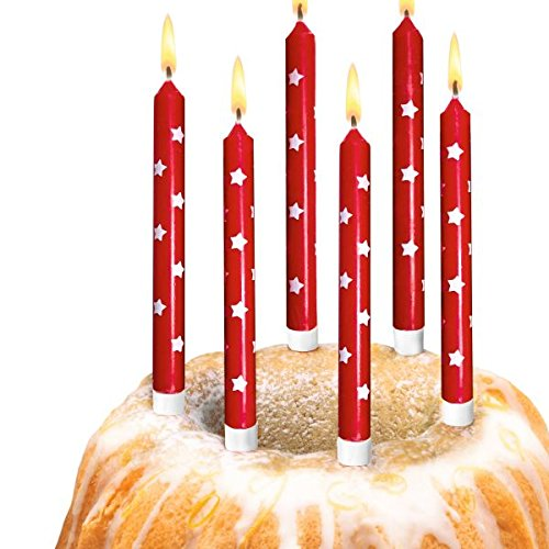 "Susy Card 40014517 Kerzen ""Star"" mit Kerzenhalter, 10 Stück auf Blisterkarte"