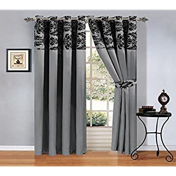 Ring Top Damask Pair Eyelet Curtains Flock Pattern Fully Lined ...