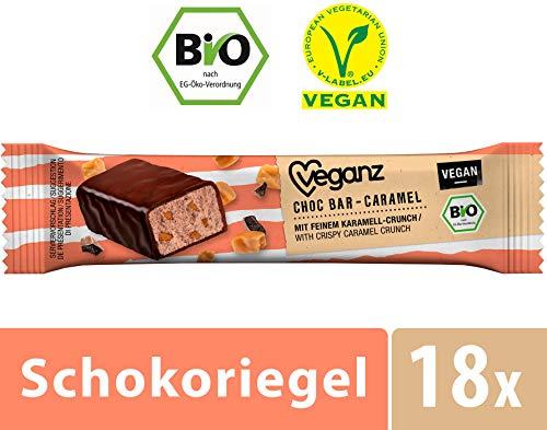 Veganz BIO Choc Bar Caramel in Zartbitterschokolade - Veganer Schokoriegel mit leckerem Caramel - 18 x 35g