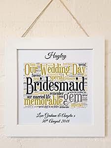 Poème personnalisé Bridesmaid Thank You toile Carte Cadeau souvenir. sur pied ou parfait pour cadres. Avec Enveloppe. Détails personnalisés requis par email.