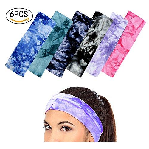 6 Stück Elastische Stretch Schweißband Tie Dye Yoga Stirnband verstellbar sortiert Farben gym Haarband für Gesichtswäsche Make up Yoga oder Mode (Baumwolle Tie Dye Cap)