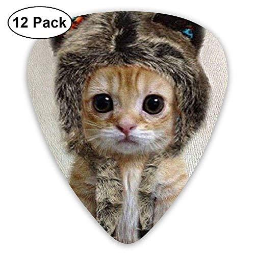 Süße Tier kleine graue Katze Hut Guitar Pick12 Stück Für E-Gitarre, Akustikgitarre, Mandoline und Bass -