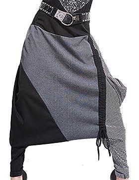 Long Deng Pantalones de Harem Harén Largao para Mujer Bombacho Hippe Pantalones Anchos de Moda Cintura Elástica...