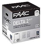 Faac Delta 2 Kit automatisation pour portails coulissants à usage résidentiel avec poids max 500 kg avec clignotant 230 V moteur encodeur inclus et paire de photocellules XP 1056303445