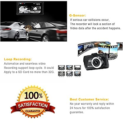 Dash-Cam-30-FHD-1080P-170-weitwinkel-Kamera-Video-Kanal-fr-Rckfahrkamera-Armaturenbrett-Kamera-G-Sensor-Schleifenaufnahme-Parkberwachung-Nachtsicht-16-GB-TF-Card-ist-enthalten