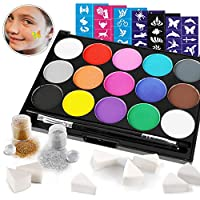 Howaf Body Painting Face Paint Kit, 15 Color Non-Toxic Professional Palette, 60 Stencils, 2 Brushes, 8 Sponges, 2 Glitters for Halloween Party Colsplay Makeup Body Festive Face Paint Kids