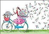 Doppelkarte mit Umschlag * Mila Marquis * Frau auf Fahrrad * Glitzerlack