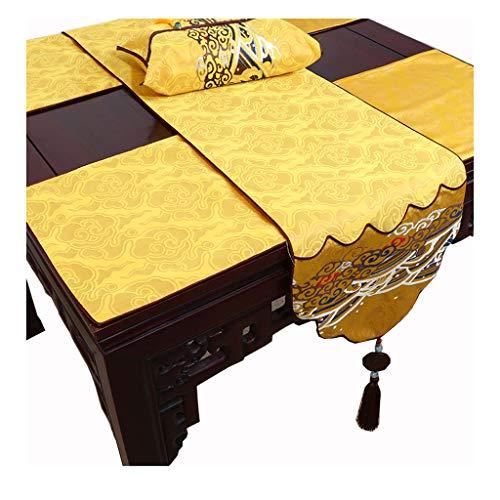 Chemin de table LITING Nappe de, Jade Chinois, Table Basse Pastorale, Noble, Auspicious, Harmony (Couleur : Jaune, Taille : 34 * 230cm)