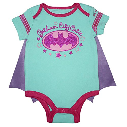 2 PCS SET Batgirl Baby Mädchen Einteiliger Glitzer-Spielanzug mit entfernbarem Kap 0/3M Multicolor (Batgirl Anzug)