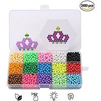 Abalorios Cuentas de Agua, Aqua Beads 15 Colors 2400 Perlas en Caja de Almacenamiento de