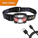 USB Rechargeable LED Head Torch, Vansky Super Bright LED Headlamp, Waterproof Lightweight Hands Free with White & Red Light 5 Modes for Running, Camping, Fishing, Hiking【USB Cable Included】