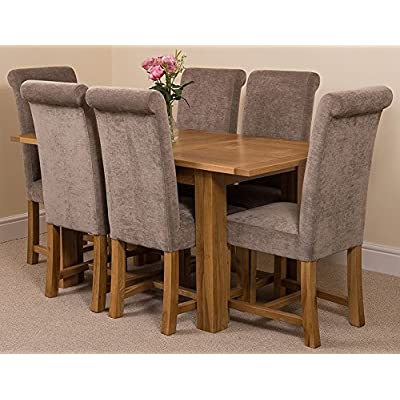 Hampton 120cm - 160cm Oak Extending Dining Table and 6 Chairs Dining Set with Washington Grey Fabric Chairs
