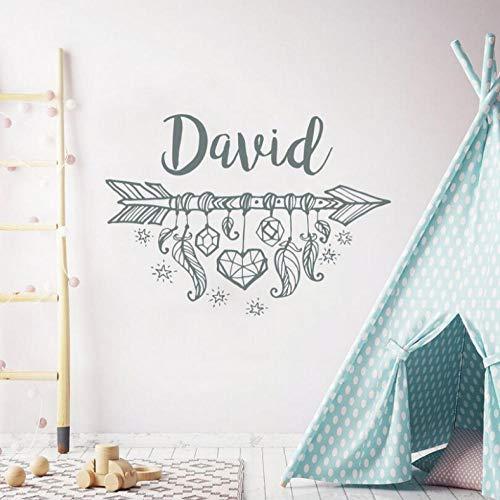 Flecha Nombre personalizado Niños Niñas Decoración del hogar Flecha bohemia Atrapasueños Etiqueta de la pared Diseño de arte de vinilo personalizado 57x40 cm