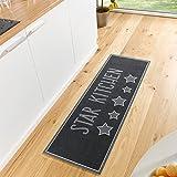 Zala Living Star Kitchen Waschbarer Küchenläufer, Polyamid, Schwarz/grau, 150 x 50 x 0.5 cm