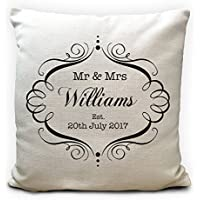 Mr and Mrs Personalised Wedding Cushion Cover Gift Handmade Valentines Day Anniversary Gift for Him Her Wife Husband UK Seller