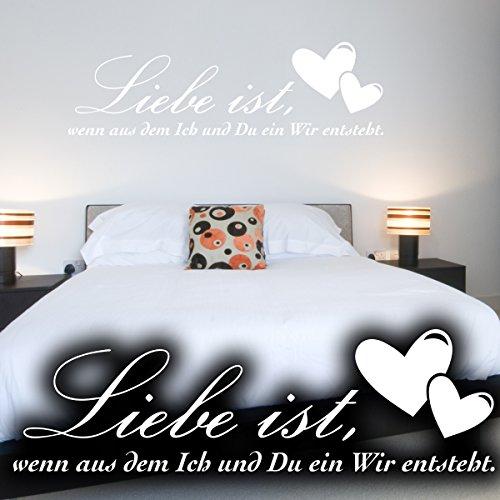 """Wandkings Wandtattoo """"Liebe ist, wenn aus dem Ich und Du ein Wir entsteht. (mit 2 Herzen)"""" 50 x 15 cm weiß - erhältlich in 33 Farben"""