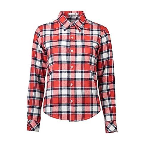VB Veste à capuche femme treillis pur coton T-Shirt Long Sleeve taille grande carrière, F, M