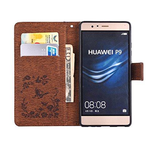 Qiaogle Téléphone Coque - PU Cuir rabat Wallet Housse Case pour Apple iPhone 5 / 5G / 5S / 5SE (4.0 Pouce) - LM08 / Gris Diamant Papillon Fleur LM05 / Brun Diamant Papillon Fleur