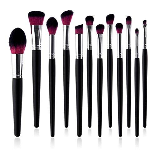 URSING 12 x Pro Pinceaux de Maquillage Set Fondation Poudre Ombre à Paupières Eyeliner Lèvre Brosse Maquillage Brosses Ensemble Mode Poignée Brosses pour Fondation Sourcils (22*15*2cm, Noir)