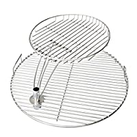 Onlyfire Charcoal Grill Cooking Grate Stack Warming Rack Grill Combo, 55CM Cooking Grate with 34CM Warming Rock Fits for Weber 57CM Charcoal Kettle Grill