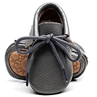 """HONGTEYA Leather Baby Moccasins Boots Hard Sole Lace Up Genuine Leather Girl Boys Handmade Toddler Shoes (US5M 6-12Months 12cm 4.72"""" Infant, Grey)"""
