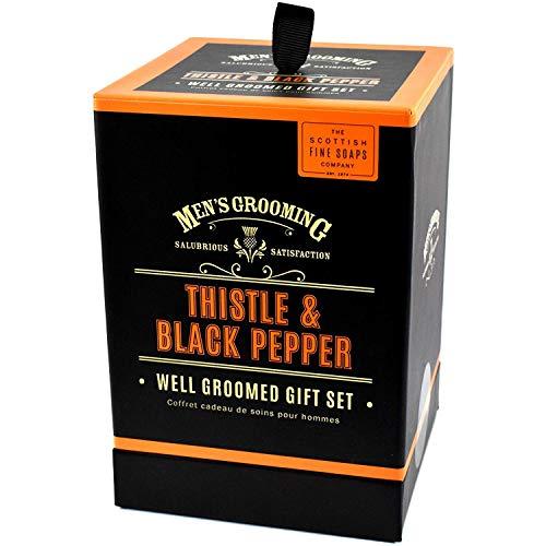 Scottish Fine Soaps Chardon & Poivre Noir Well Soigné Coffret Cadeau Inclus Eau de Toilette 50ml, Corps 75ml et Baume Après-rasage 75ml